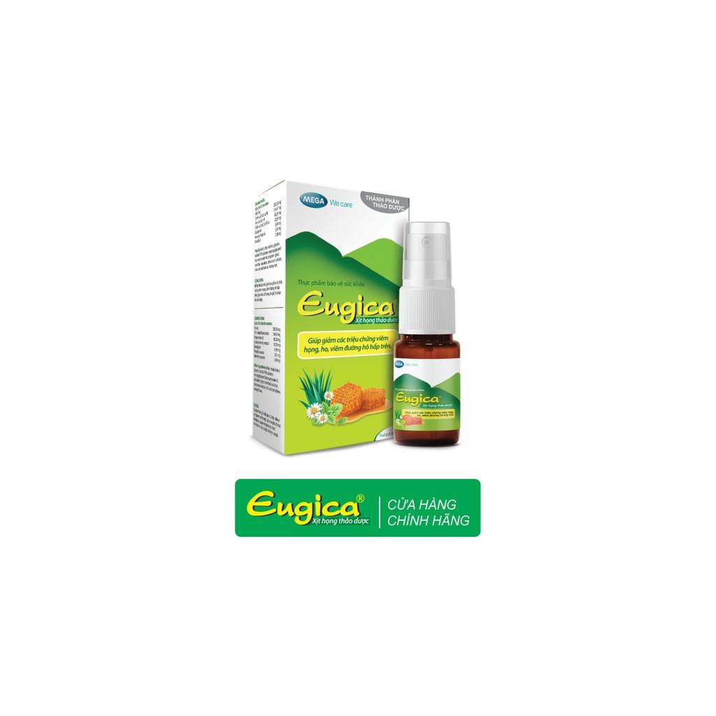 Xịt họng thảo dược Eugica - Hỗ trợ ho, viêm họng - Chai xịt 10ml