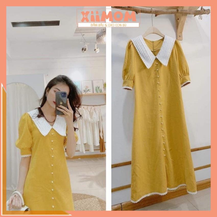 Mặc gì đẹp: Dễ chịu với Váy bầu công sở - đầm bầu thiết kế màu vàng kiểu dáng thanh lịch hàn quốc HD26 - Xiimom