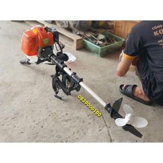 MÁY CHẠY THUYỀN .Trọn bộ Dàn láp chân vịt gắn động cơ máy cắt cỏ TU43. Động cơ chạy thuyền Mini. Động cơ chạy xuồng mini