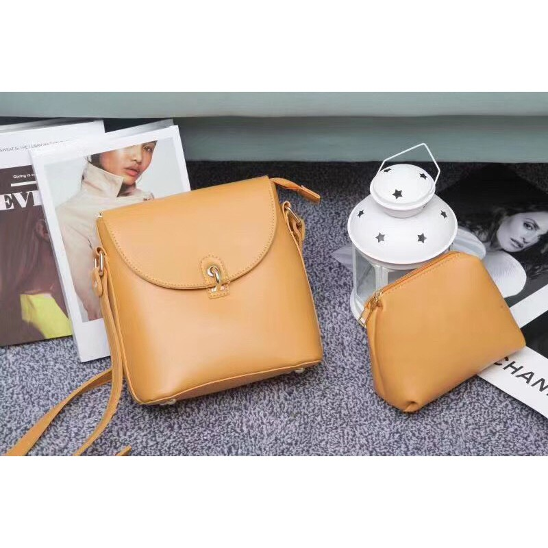 Túi xách nữ [Thanh lý - Mua 1 tặng 1] Túi đeo chéo da Pu trơn khóa móc N2a shop