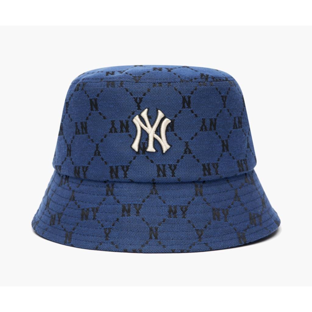 Mũ Bucket MLB monogram Ny xanh