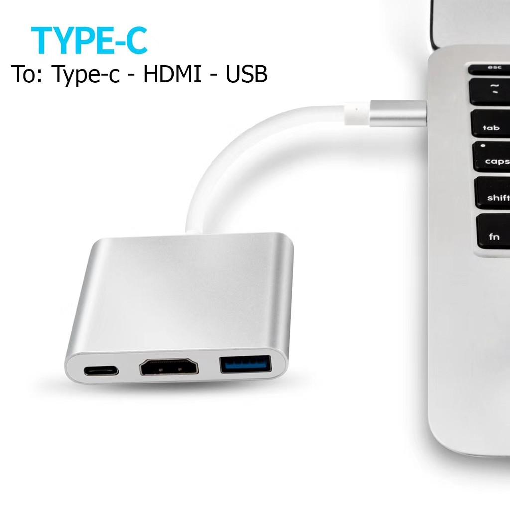 Cáp Type-C ra HDMI, USB, PD 3in1 chuẩn video 4K Giá chỉ 269.000₫
