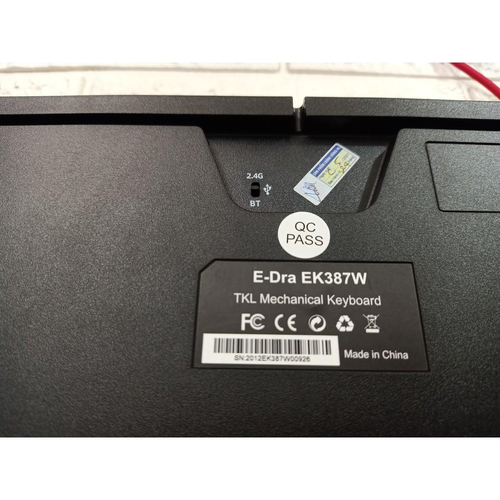 Bàn phím cơ Dual không dây Edra EK387w led RGB Gateron switch