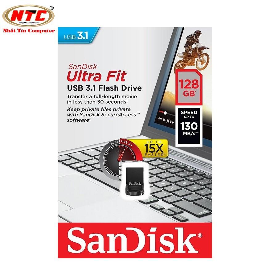USB 3.1 SanDisk CZ430 Ultra Fit 128GB 130MB/s (Đen)