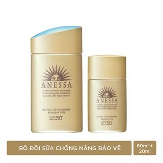 """Bộ đôi chống nắng bảo vệ hoàn hảo Anessa Perfect UV Sunscreen Skincare Milk (60ml + 20ml) giá chỉ còn <strong class=""""price"""">58.900.000.000đ</strong>"""