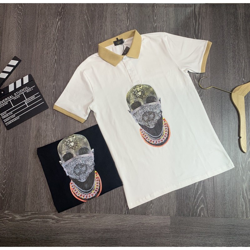 Áo thun cổ trụ thêu logo sói nổi bật(chất liệu cotton 100%