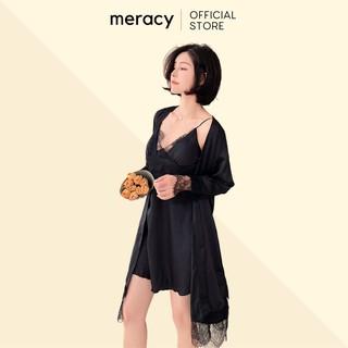 Váy ngủ hai dây có kèm áo choàng lụa satin nữ cao cấp MERACY có mút ngực phối ren M05 - CV thumbnail