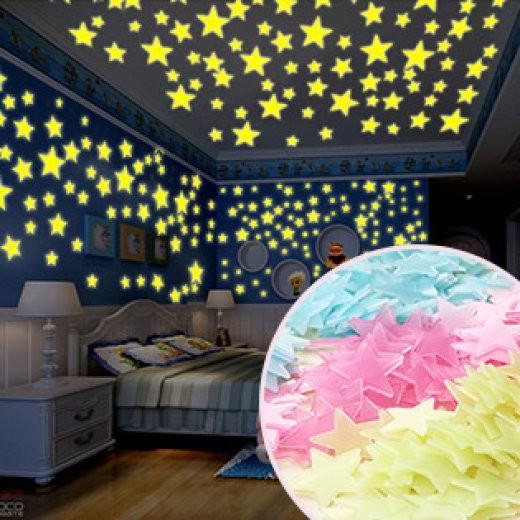 Combo 100 ngôi sao dán tường phát quang