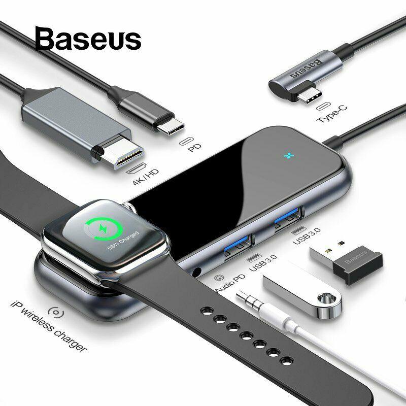Bộ USB C Hub Baseus Mirror Series mở rộng USB 3.0, 3.5mm, HDMI 4K@30Hz,sạc không dây Apple Watch cho Macbook, Laptop...