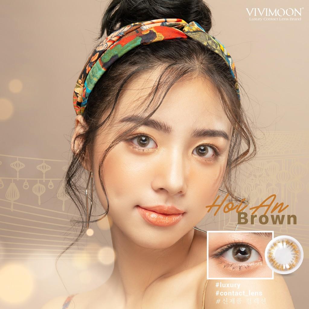 Kính áp tròng Hàn Quốc VIVIMOON Hoi An Brown 13.4 mm - Lens Mắt Cận Nâu