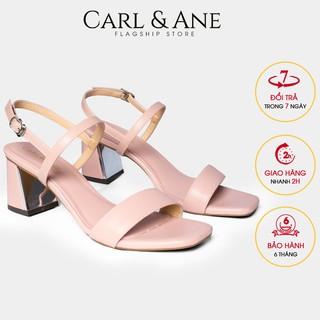 Carl & Ane - Gia y sandal mu i vuông phô i quai ngang cao 7cm màu hô ng nha t_CS005 thumbnail