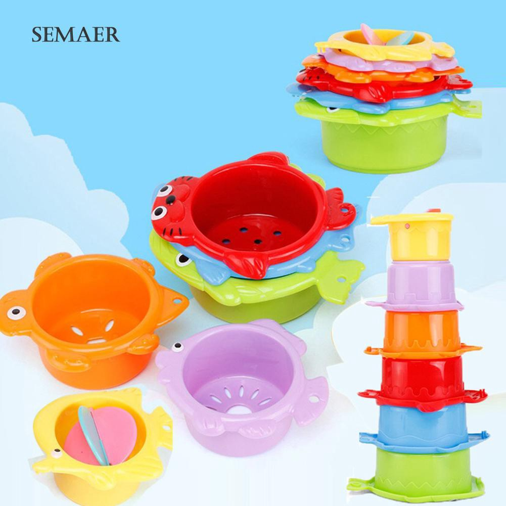 ☆ 6Pcs Funny Stacking Floating Colorful Animal Cups Educational Bath Kids Toy