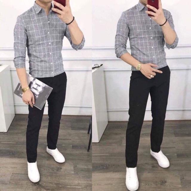 Giá Hủy Diệt - Set quần vải đen và áo caro phong cách Hàn