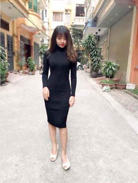 Váy Len Tăm Body cổ lọ