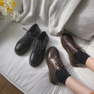 Giày ulzzang vintage nâu đen đế trong siêu mềm có ảnh thật cuối