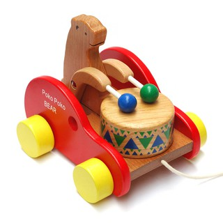 Toys Children's toys Toy cars Wooden bears drums Early childhood creative puzzle children's toys dragging toddler toys