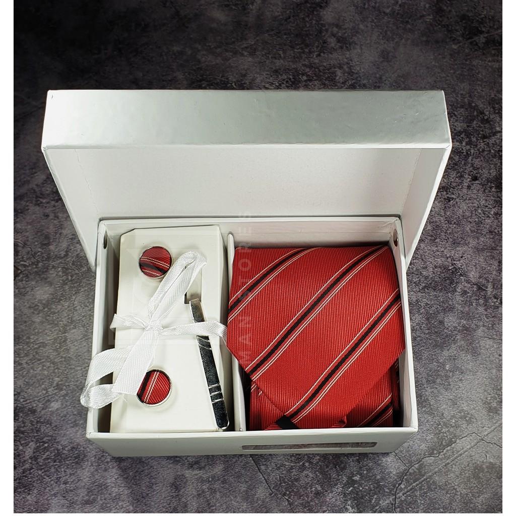 Bộ quà tặng Cà Vạt Nam Dự Tiệc, Quà Tặng sọc xanh đỏ