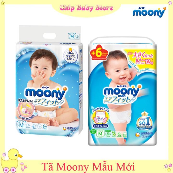 Tã dán/quần Moony size Nb90/S84/M64/L54-M58/L44/XL38/XXL26