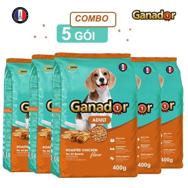 Combo 5 gói Thức ăn cho chó trưởng thành Ganador vị gà nướng Adult Roasted Chicken Flavor 400gram