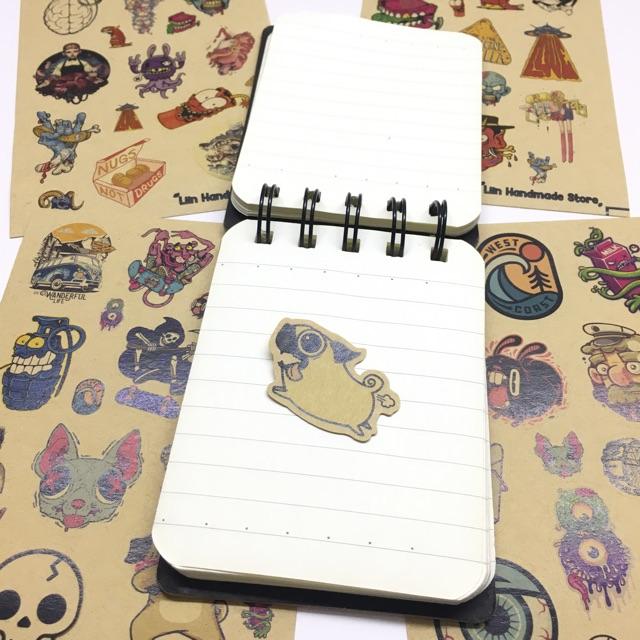 Sticker nhám độc đáo dán trang trí planer, scrapbook,.. size nhỏ 3-5cm