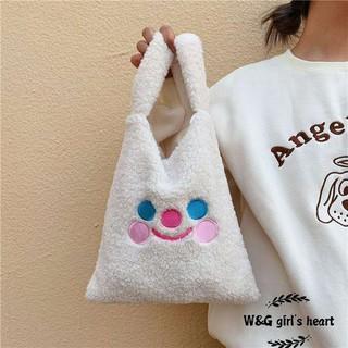 <24h delivery>W&G Japanese handbag soft lamb plush large capacity vest bag cartoon cute plush handbag