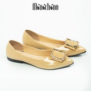 Giày búp bê nữ đế bằng MINICHINO da bóng mũi nhọn khóa vuông thời trang màu kem TC024 thumbnail