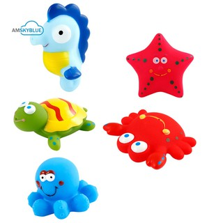 amsky Cute Baby 2Pcs Animals Vehicle Model Floating Squirt Toy
