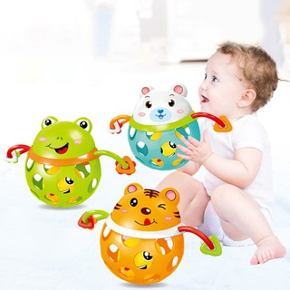Baby Boys Girls Soft Rubber Hollow Rattle Cartoon Animal Teethers Ball Toy Gift