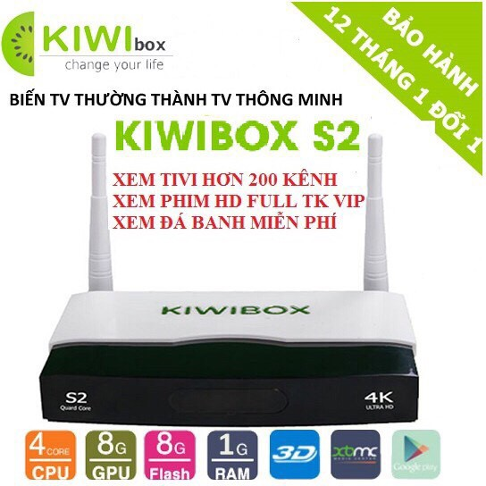 Androi Tv Box KIWI S2 RAM 1G, ROM 8G Bản Mới Nhất 2017