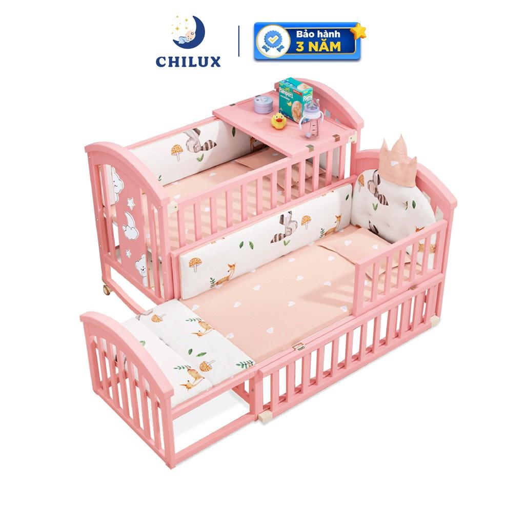 Nôi cũi em bé Chilux Peace Pink - Đa năng 6 chế...