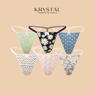[Mã FASHION10KP giảm 10K đơn 50K] Quần lót lọt khe Nhật chất cotton họa tiết hoa phối dây KRYSTAL Floral KQ01 thumbnail