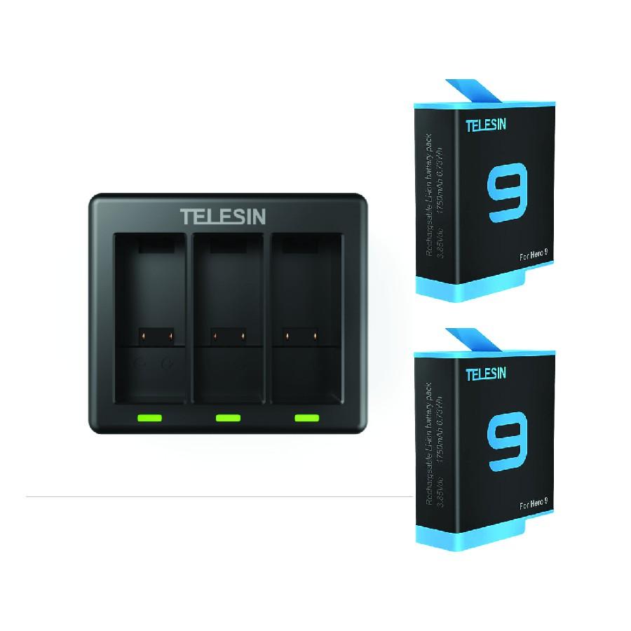 [Rẻ vô địch] Pin và sạc 3 Gopro 9 chân xanh chính hãng Telesin