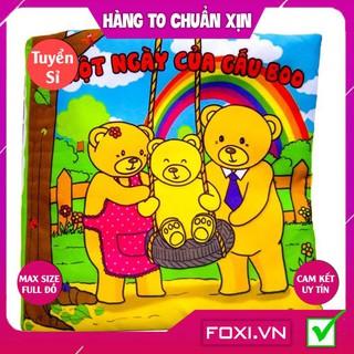"""[FREESHIP HÀNG ĐẸP] Sách vải cho bé """"Một ngày của Gấu Boo""""Giúp Bé rèn luyện thói quen Sinh Hoạt-Kích thích Thị Giác"""