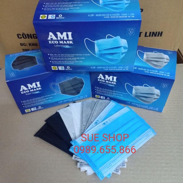 Hộp 50 cái Khẩu trang y tế 4 lớp chuẩn hiệu AMI