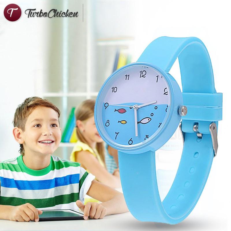 T⋄ Child Quartz Sports Watch Waterproof Silicone Strap Outdoor Simple Children Wristwatch