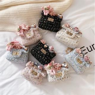Túi đeo bé gái vải dạ đính hoa xinh xắn