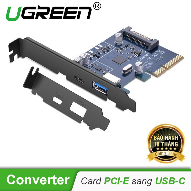 Card PCI-E sang 2 cổng USB-C và USB-A 3.1 dài 80cm UGREEN US230 30774