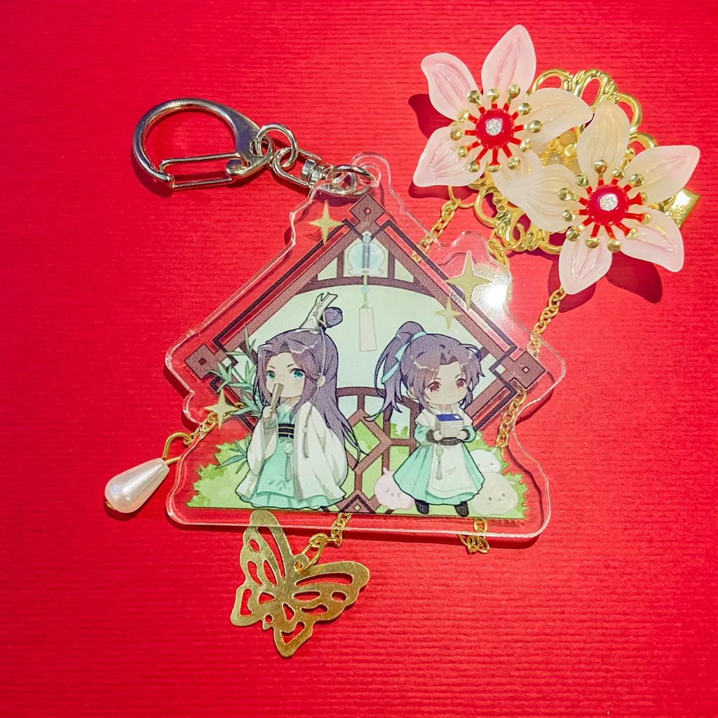 ( Mica trong acrylic ) Móc khóa THIÊN QUAN TỨ PHÚC HỆ THỐNG TỰ CỨU MA ĐẠO TỔ SƯ anime chibi