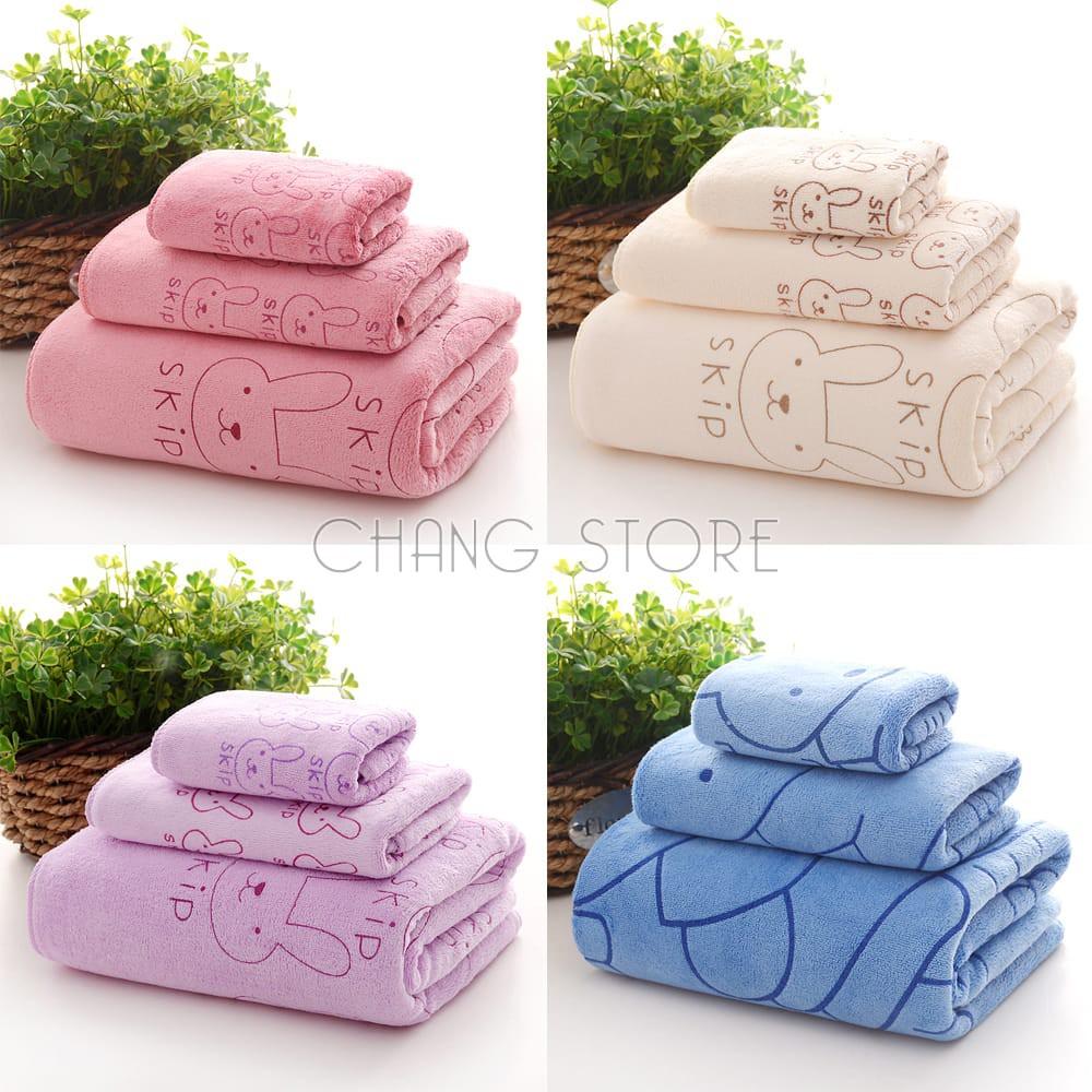 Bộ 3 Khăn Tắm, Khăn Mặt, Khăn Lau Tóc mềm mại, khả năng thấm hút, kháng khuẩn tốt