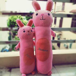 Combo Gấu bông gối ôm thỏ hồng đáng yêu
