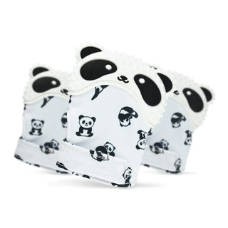 Panda Pattern Teething Mittens Soundable Mitten Teether Fingers Protective Mittens Teether for Baby