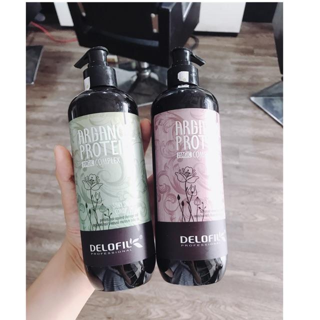 Delofil - Bộ dầu gội Arganoil Delofil phục hồi hư tổn, mềm mượt trị gàu & giảm gãy rụng