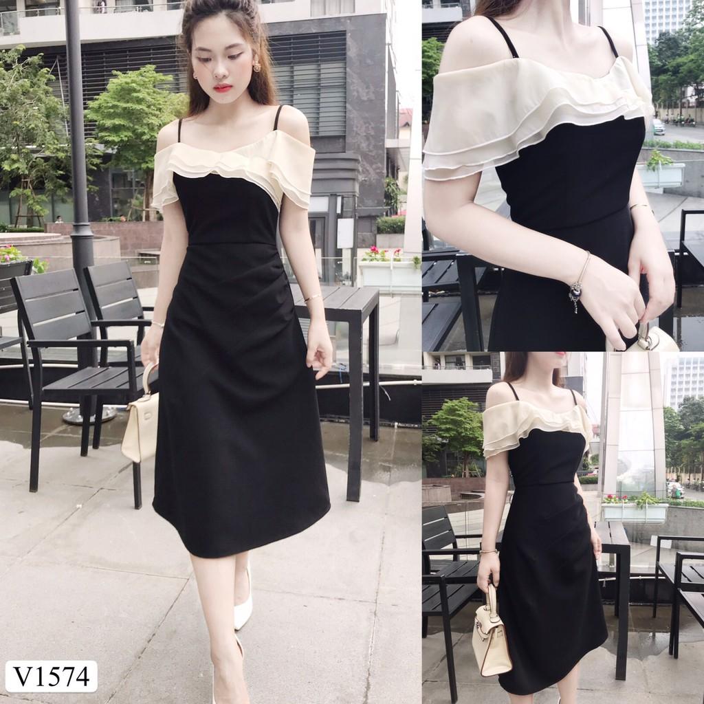 Váy đen 2 dây trễ vai V1574 - QUEEN SHOP DOLCE VIVA COLLECTION ( ảnh trải sàn do chính tay chị chủ tự chụp)
