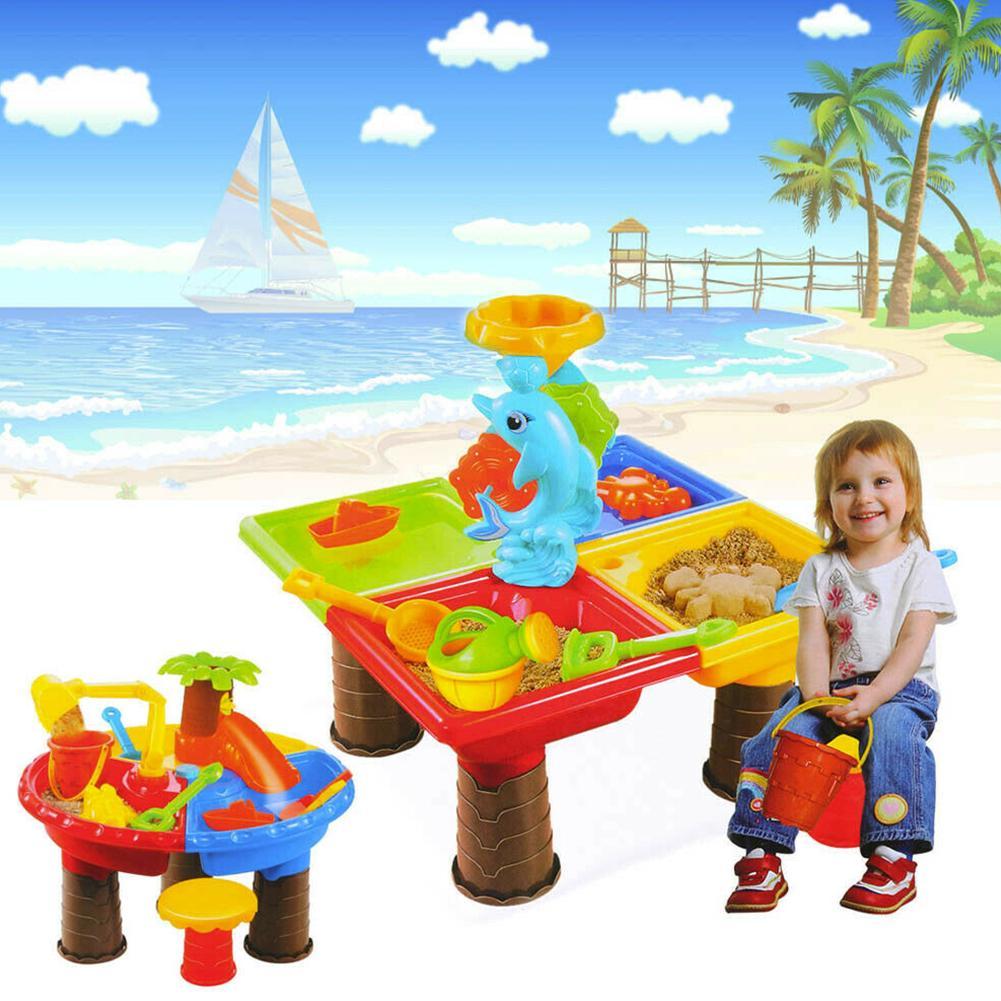Kids Digging Pit Sandglass Play Sand Table Seaside Outdoor Water Bucket Summer Beach Toy Set