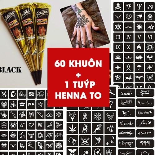 (GIÁ HỦY DIỆT) COMBO 60 KHUÔN +1 TUÝP MỰC HENNA ĐEN