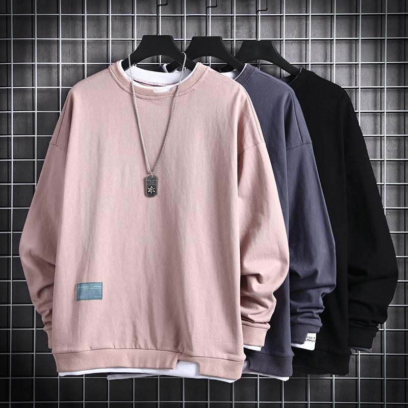 Áo sweater hai lớp tay dài cổ tròn dáng rộng trẻ trung năng động