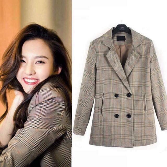 Áo Blazer kẻ 2 hàng cúc hot hit (Order-kèm ảnh thật) mẫu mới 2019 Maykith  Cao cấp | Shopee Việt Nam