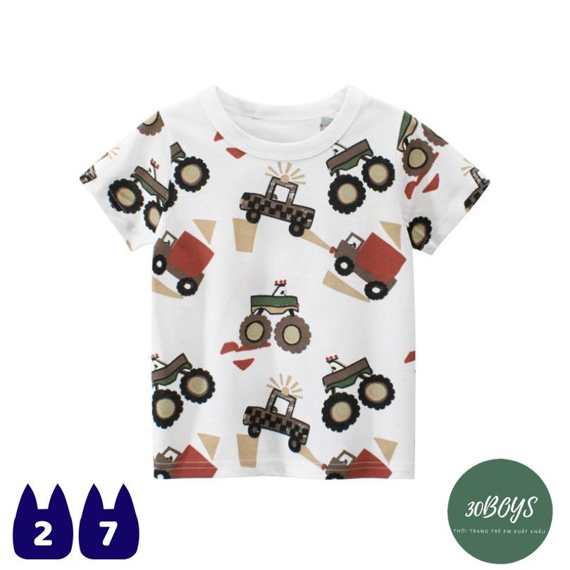 Áo thun bé trai cộc tay cổ tròn 27Kids In hình máy cày, 100% cotton thoáng mát, hàng xuất Âu Mỹ