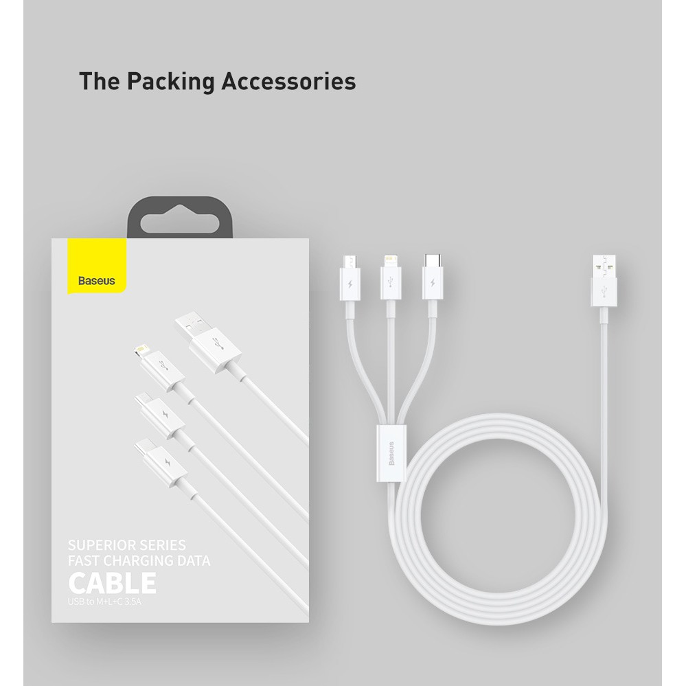 Cáp sạc dữ liệu Baseus cổng type C micro lightning có đèn 3 trong 1 1.5m cho điện thoại iphone