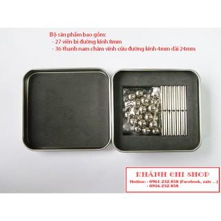 Bộ xếp hình nam châm buckybars gồm 27 viên bi 8mm và 36 thanh nam châm vĩnh cửu